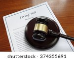 living will document and legal... | Shutterstock . vector #374355691