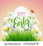 easter greeting lettering. eggs ... | Shutterstock .eps vector #374356975