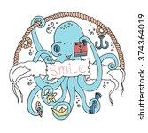 cute smiling cartoon octopus... | Shutterstock .eps vector #374364019