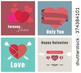 valentine illustration cards | Shutterstock .eps vector #374384101