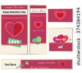 valentine banner card pack | Shutterstock .eps vector #374384194