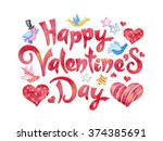 watercolor happy valentines day ... | Shutterstock . vector #374385691