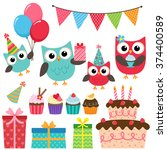 set of birthday party elements... | Shutterstock . vector #374400589