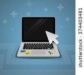 laptop click by digital arrow...
