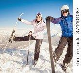ski. funny male and female... | Shutterstock . vector #374404087