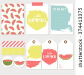set of colorful cards  labels... | Shutterstock .eps vector #374413375