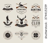 set of hunting and fishing... | Shutterstock .eps vector #374415259