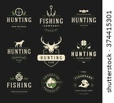 set of hunting and fishing... | Shutterstock .eps vector #374415301