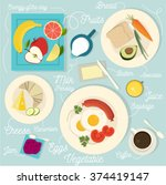 healthy breakfast vector set | Shutterstock .eps vector #374419147