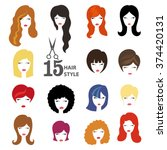 hairstyle silhouette.woman girl ... | Shutterstock .eps vector #374420131