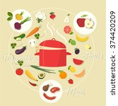 icons for food and restaurant. | Shutterstock .eps vector #374420209