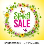 spring sale in a white circle... | Shutterstock .eps vector #374422381