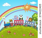 cute animal on train | Shutterstock . vector #374422405
