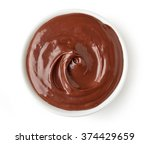 chocolate cream in round dish... | Shutterstock . vector #374429659