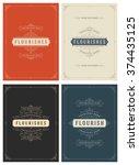 vintage ornament greeting cards ... | Shutterstock .eps vector #374435125