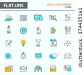 set of modern simple line icons ... | Shutterstock .eps vector #374435161