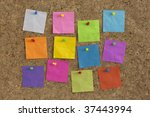 colorful blank notes pinned on...   Shutterstock . vector #37443994