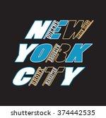 new york t shirt typography... | Shutterstock .eps vector #374442535