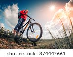 young lady with bicycle on a... | Shutterstock . vector #374442661