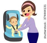 cute little boy sitting on car... | Shutterstock .eps vector #374444131