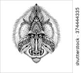 detailed baboon in aztec style. ... | Shutterstock . vector #374444335