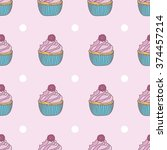 cupcakes pattern on pink... | Shutterstock .eps vector #374457214