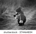 young happy boy playing outdoor ... | Shutterstock . vector #374464834