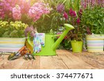 gardening tools on the wood... | Shutterstock . vector #374477671