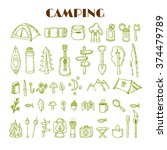 set of hand drawn camping and... | Shutterstock .eps vector #374479789
