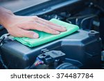 wipe cleaning the car engine...   Shutterstock . vector #374487784