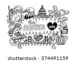 usa travel symbols in hand... | Shutterstock .eps vector #374491159