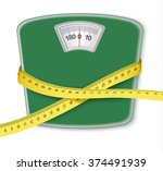weight scale with a measuring... | Shutterstock .eps vector #374491939