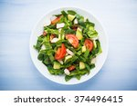 fresh salad with chicken ... | Shutterstock . vector #374496415