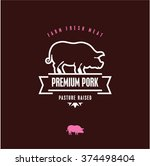 premium pork vector line label  ... | Shutterstock .eps vector #374498404