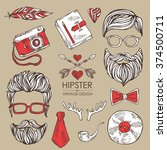 hipster hair and beards and... | Shutterstock .eps vector #374500711