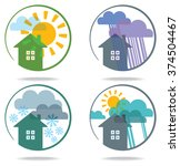 set of weather icons.... | Shutterstock .eps vector #374504467