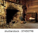 Fireplace In Mountain Cabin