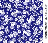 hibiscus orient lion pattern | Shutterstock .eps vector #374518519
