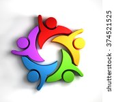 happy teamwork 5 group of... | Shutterstock . vector #374521525