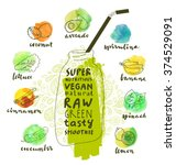 green superfoods smoothie... | Shutterstock .eps vector #374529091
