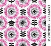 modern scandi daisy floral... | Shutterstock .eps vector #374532595