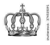 crown. hand drawn vector... | Shutterstock .eps vector #374535091