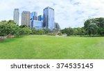 green grass field in big city... | Shutterstock . vector #374535145