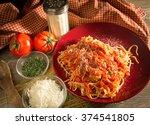 spaghetti and meatball dinner.... | Shutterstock . vector #374541805