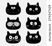 Cute Black Cat Head Set. Funny...