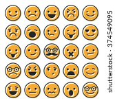 set of emoticons  flat... | Shutterstock .eps vector #374549095