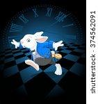 running white rabbit with... | Shutterstock .eps vector #374562091