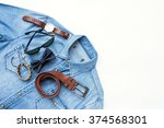 men's casual outfits with... | Shutterstock . vector #374568301