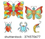 hand drawn bright art set of... | Shutterstock . vector #374570677
