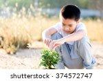 thin focus on hand  child... | Shutterstock . vector #374572747